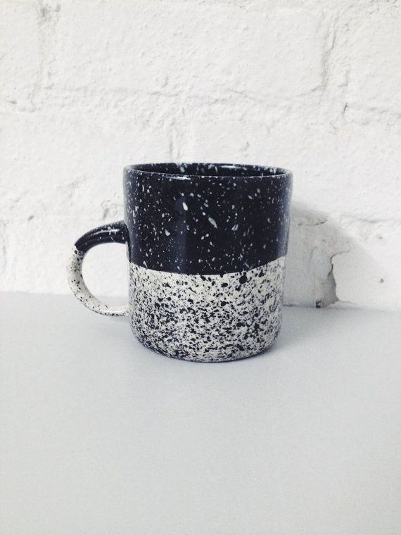 Speckled Mug Black and White Porcelain, Coffee Mug