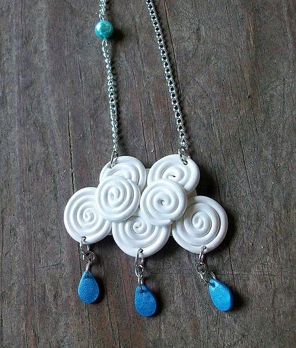 Polymer clay #raincloud #necklace