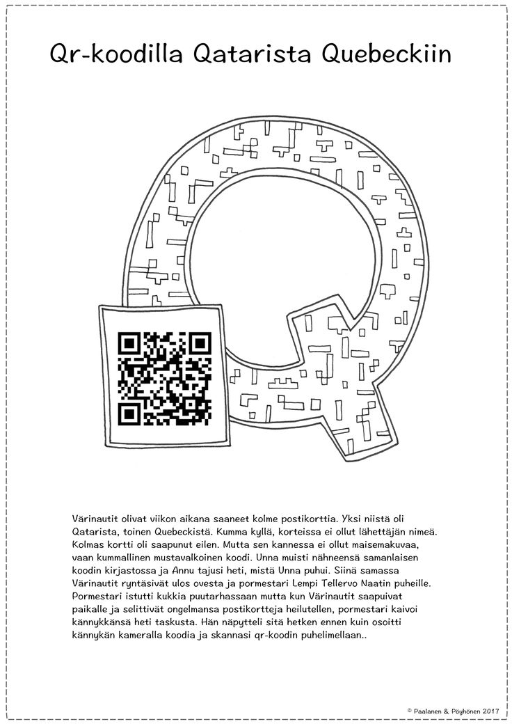 Q-kirjaimen värityskuva ja tarina