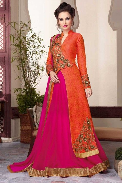 Orange and pink georgette semi stictch lehenga with art silk choli. This lehenga choli is embellished with resham, zari and stone.Product are available in 34,36,38,40 sizes. It is perfect for Party Wear, Wedding Wear, Bridal Wear, Festival Wear and Ceremonial. http://www.andaazfashion.com.my/womens/lehenga-choli/orange-pink-georgette-lehenga-with-artsilk-choli-dmv13965.html