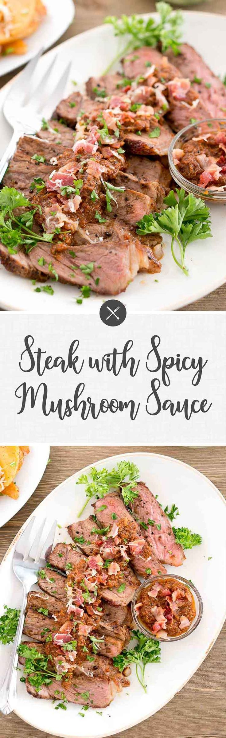 Steak with Spicy Mushroom Sauce is a great and easy recipe for midweek dinners. The mushroom sauce takes the steak to the next level.  via @NeliHoward