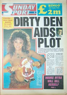 Maria Whittaker Christmas photo from December 1986 on the front page of the Sunday Sport newspaper
