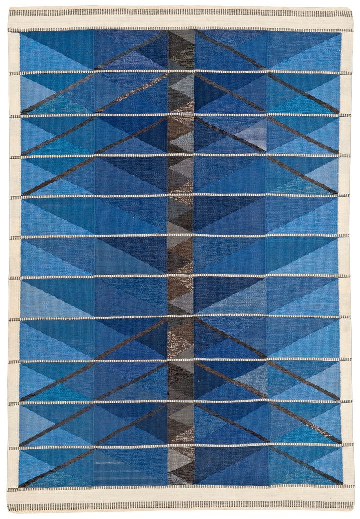 "MATTA. (Rug) ""Vinterträd blå"".(Winter Blue) Rölakan (Flat Weave). Design Ingrid Dessau, - Modern Autumn Sale, stockholm 557 – Bukowskis"