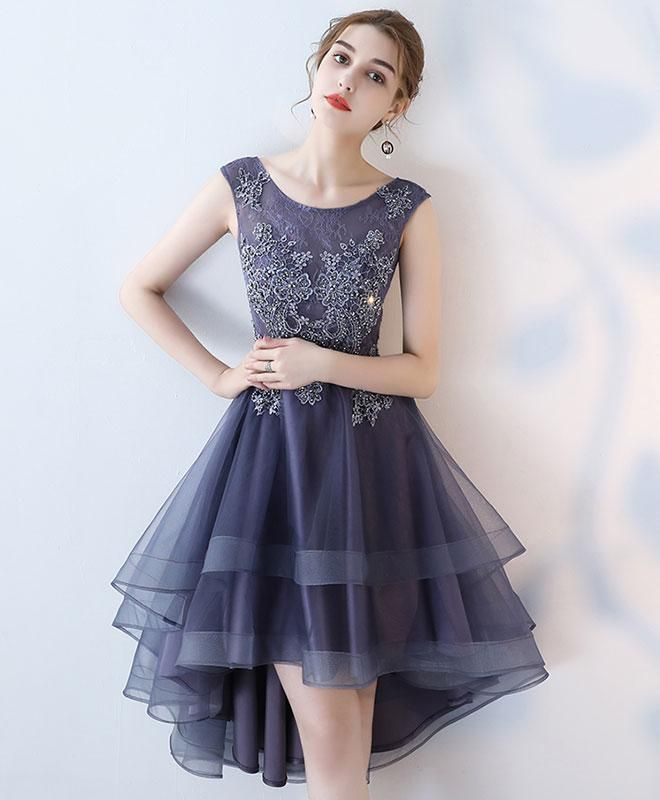 3a202f64770 Purple Round Neck Lace Tulle High Low Prom Dress