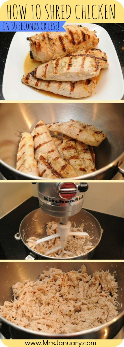 Put away the forks that you use for shredding chicken! This is a much easier, and much faster way of shredding chicken (also works for some other meats).