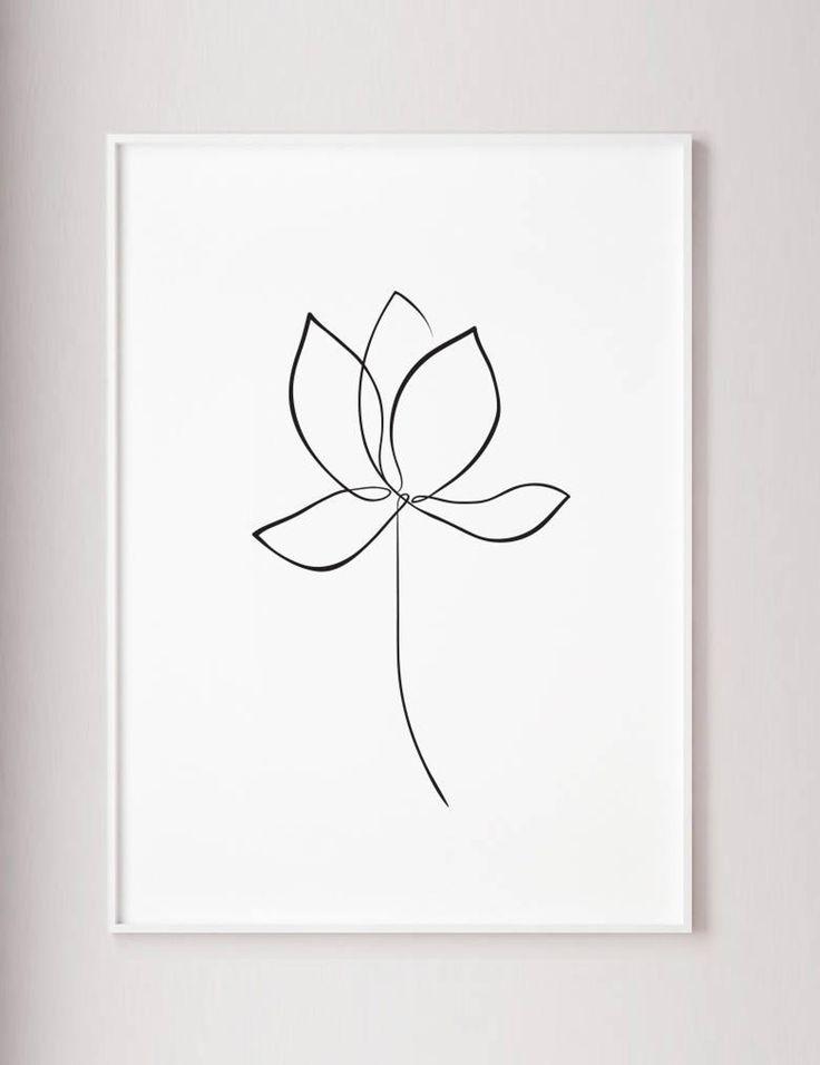 Lotus print waterlelie kunst aan de muur, bloem lijntekeningen, lotus een lijntekening, minimalistische kunst, wabi sabi stijl, kunst aan de muur van de moderne, grote afdrukbare – Pinwords