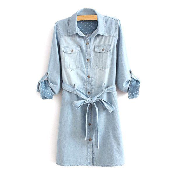 Long Sleeve Self-Tie Belt Denim Dress (99 PAB) ❤ liked on Polyvore featuring dresses, wrap tie dress, self tie belt, blue long sleeve dress, longsleeve dress and denim dress