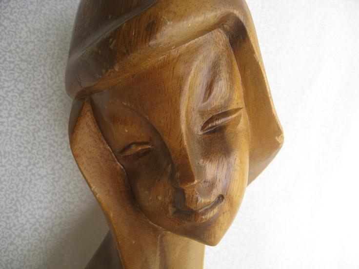 Monkeypod Figure Vintage Wood Carved Woman Female