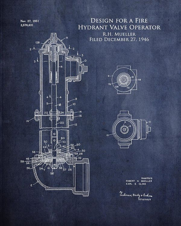 The 109 best blueprints images on pinterest blueprint art art art collectibles print featuring the digital art fire hydrant blueprint art print in blue by malvernweather Choice Image