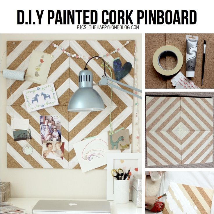 Painted cork pinboard from featured for Painted cork board ideas