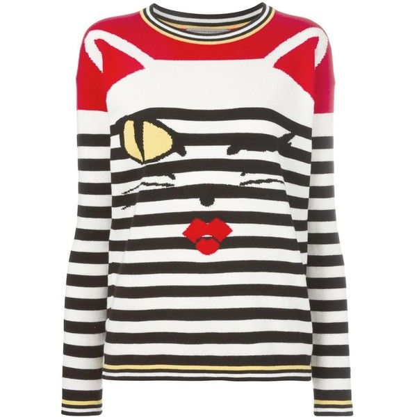 Ermanno Scervino cat intarsia striped jumper found on Polyvore featuring tops, sweaters, black, cat print top, striped top, cat sweater, striped jumper and colorful sweaters