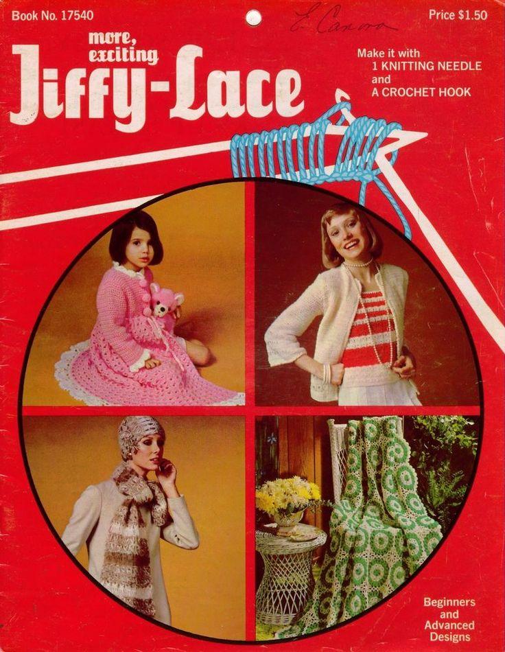 Jiffy Lace Broomstick Crochet Patterns Purse Dress Robe Afghan Scarf 1970 VTNS #CJBatesSon #PatternBook