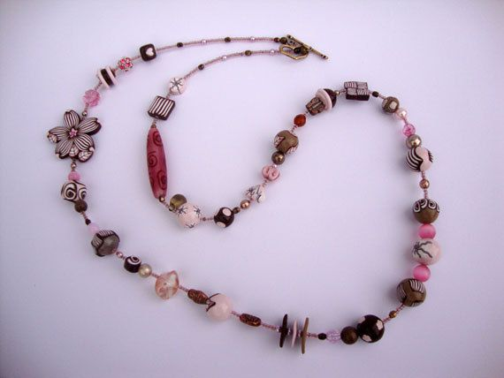 Long beaded necklace Pink Cappucino MADE by Stephshandmadebeads
