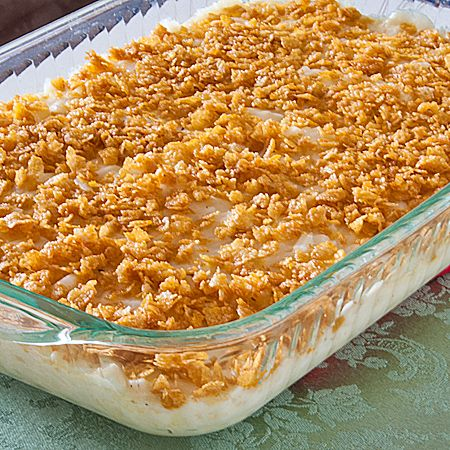 No Cream of Soup Potato Casserole (aka Funeral Potatoes) Recipe ~ Says: this version is just as creamy as the traditional version, but without the cream soup.  With this recipe you just make a cream base in its place and they turn out just as rich and creamy!
