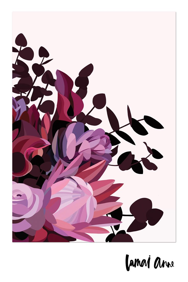 Brenda Dark Floral limited edition giclee art print by Australian artist Lamai Anne.  Lamai's artwork is a collaboration of Native Flora and Fauna that encompasses her home and surroundings. Her illustrations of Australian Natives are meticulously brought to life through her digital art, and the composition between the seasons. Bring style to any living space with contemporary wall art. Shop her range of colourful and unique prints. Buy online today!