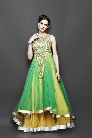 Yellow and Green layered Indo Western Bridal gown   Website : http://www.bhartistailors.com/ Email : arvin@bhartistailors.com If you like this Like Our Page :https://www.facebook.com/bhartis.tailor