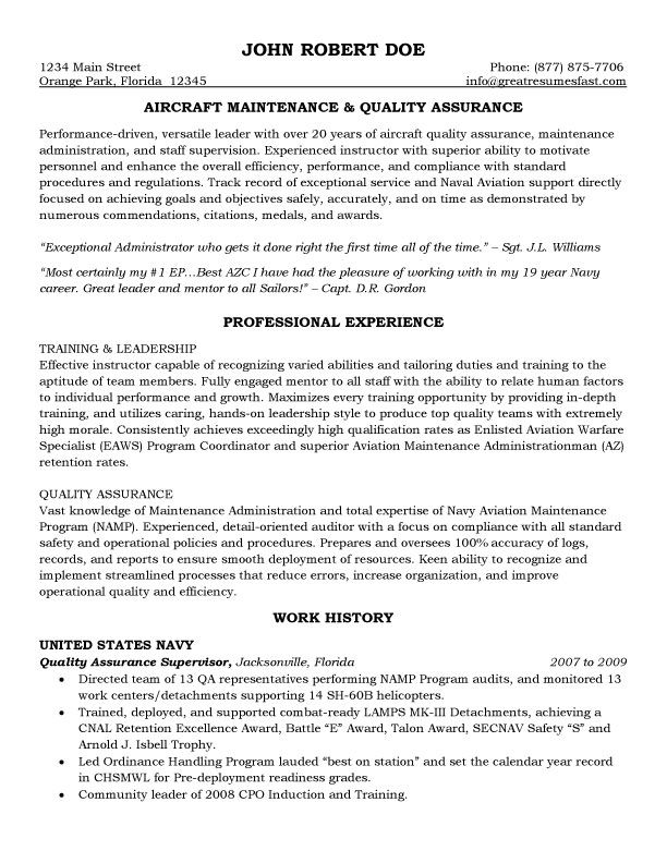 maintenance resume template free