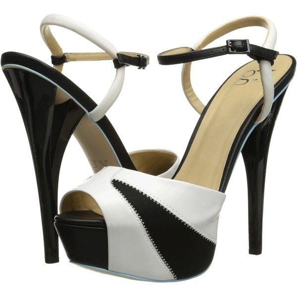 GX By Gwen Stefani Aura (White/Black) High Heels ($35) ❤ liked on Polyvore featuring shoes, sandals, heels, white, ankle strap high heel sandals, ankle strap sandals, platform heel sandals, white sandals and high heel sandals