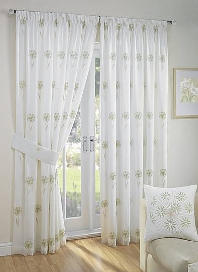 libby green, from £26 per pair of lined voile curtains