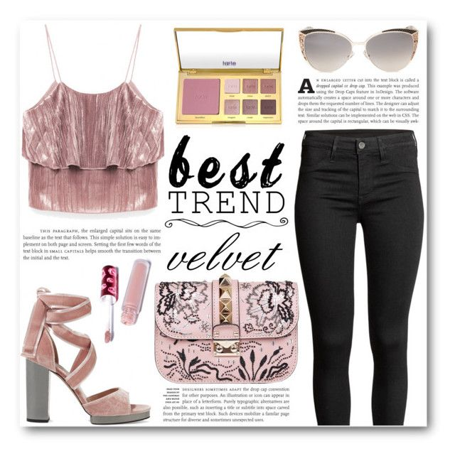 """Best Trend: Velvet"" by katrinaalice ❤ liked on Polyvore featuring Valentino, Jimmy Choo, tarte, Lime Crime, velvet, blush and besttrend2016"