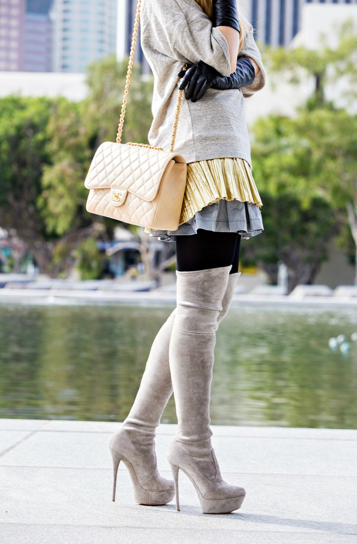 Grey outfit,Casadei Over the knee boots,Grey and gold outfit,Foil Top,Chanel bag outfit,Beret Outfit,Chanel Brooch,Casadei boots,Celine sunglasses,Otk boots and chanel,dries van noten