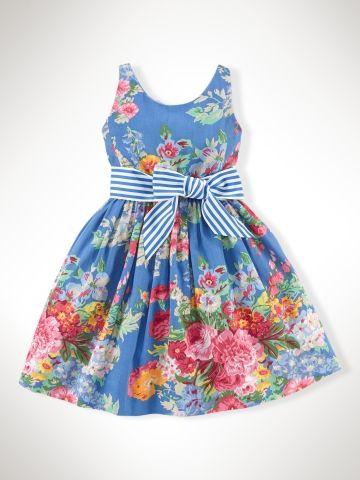 Floral Cotton Sateen Dress - Girls 2-6X Dresses Rompers - RalphLauren.comL