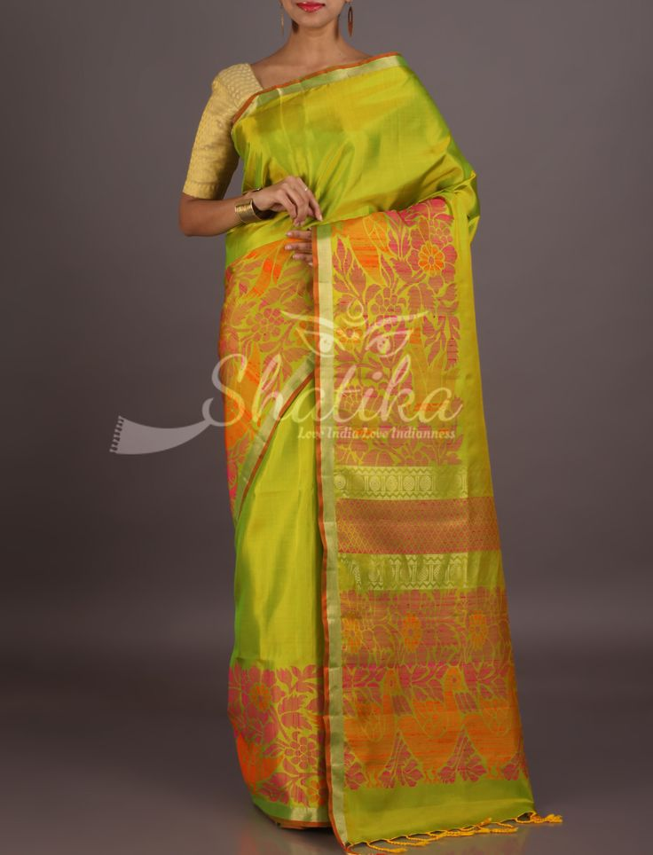 Sandhya Parrot Green With Designed Broad Weave Border Pallu Pure Mulberry Silk Saree