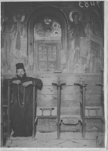 Opérateur K (code armée, photographe) Grèce ; Thessalie ; Trikala ; Kalambaka; Monastères des Météores; Vue intérieure de l'église Date prise vue 1917.