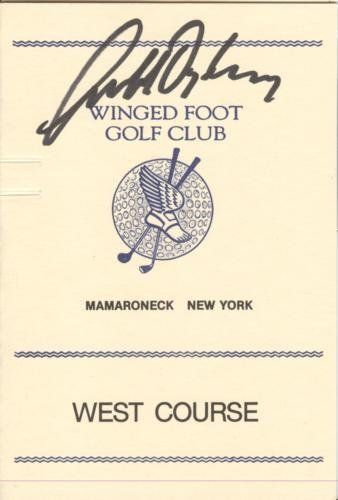 Geoff Ogilvy Autographed Winged Foot Golf Club West Course Scorecard - 2006 U.S. Open Champion by PalmBeachAutographs.com. $30.00. This item was hand signed by the athlete and is accompanied by a Certificate of Authenticity from Palm Beach Autographs. A tamper-evident hologram will be affixed to the item. Signed items are guaranteed to pass any third-party authentication with 100% Money Back Guarantee. Each signature is witnessed by a member of our staff or comes out...