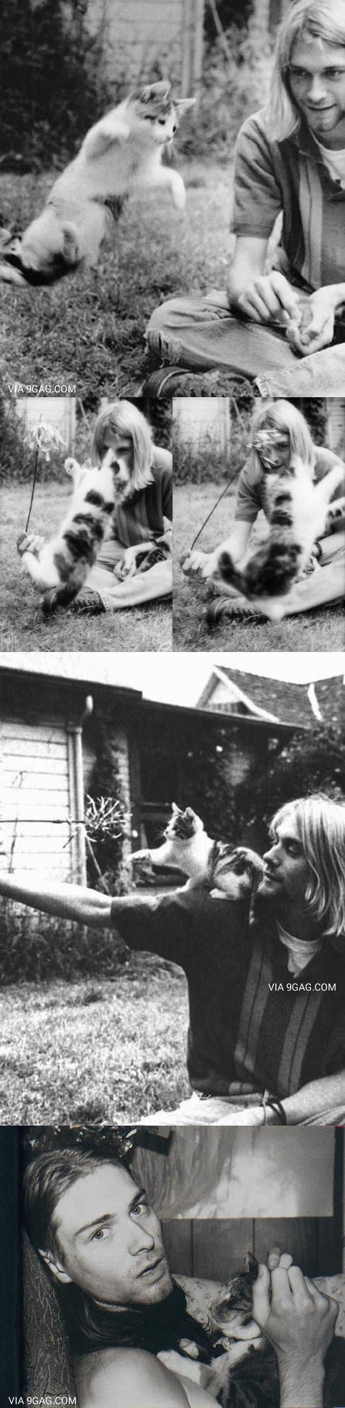 Just Kurt Cobain With His Cat~~ Makes one go awwwwww, cute. Then awwwww, when one remembers.....