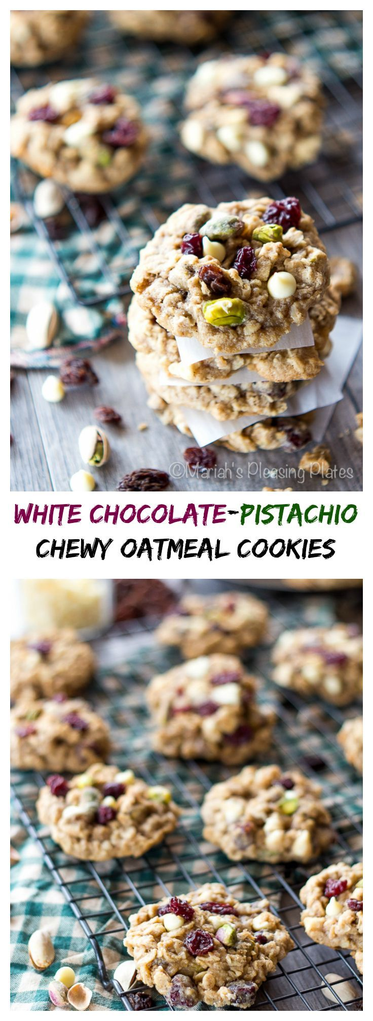 These White Chocolate Pistachio Oatmeal Cookies are thick, chewy and ...