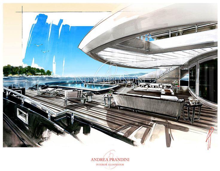 exterior illustration and visualization, watercolor illustration, handmade rendering - yacht - Andrea Prandini