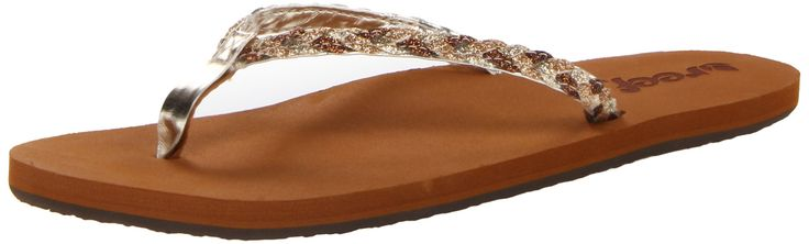 Reef Women's Reef Twisted Stars Flip Flop, Tan/Champagne, 8 M US. Braided glitter strap. EVA footbed with anatomical arch support. Durable rubber outsole. Rubber upper. Reef Twisted Stars Sandal/Flip Flops/Slipper Footwear for Women. EVA outsole. Machine wash cold with mild soap. Air dry away from heat.
