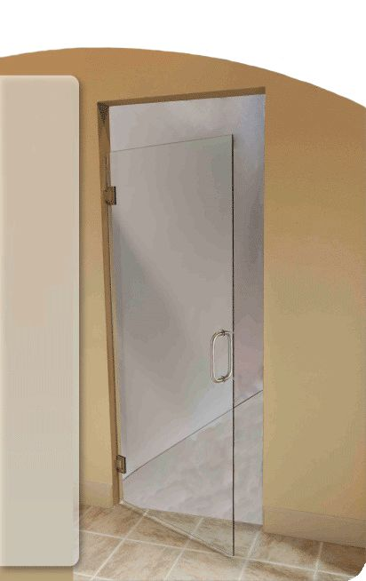 These shower doors offer the look of an all glass shower for All glass shower