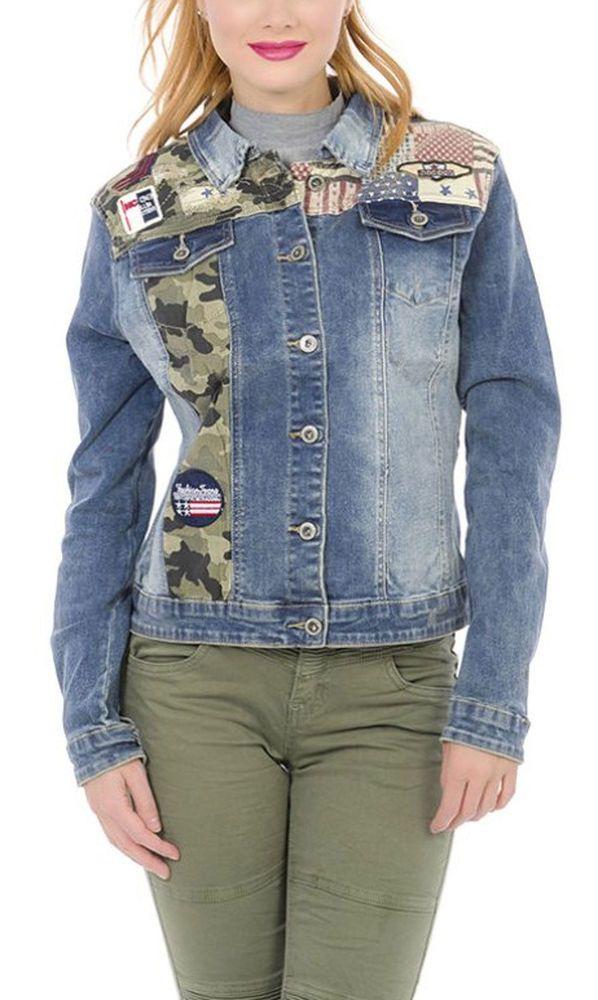 jeans jacke militär damen