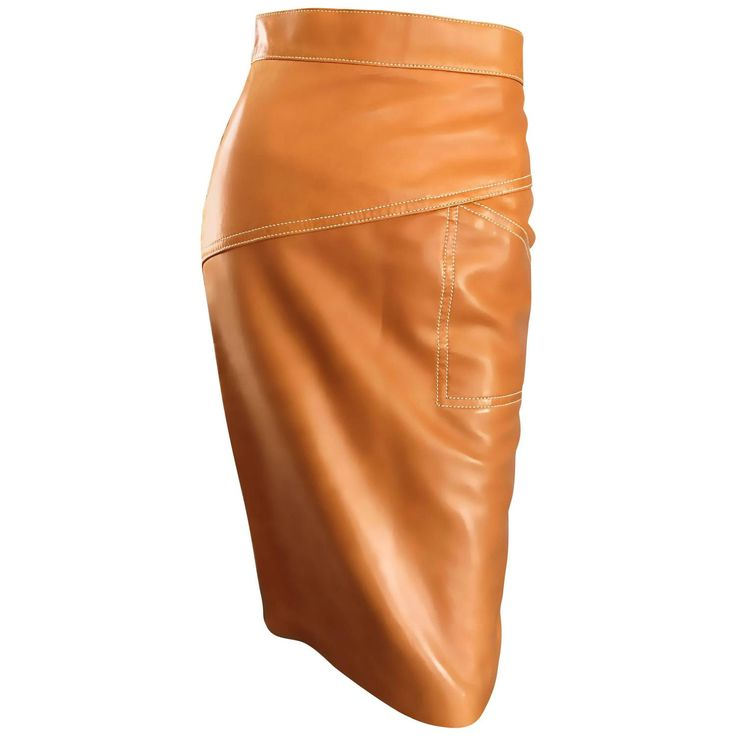 ESCADA  Margaretha Ley Vintage High Waist Leather Saddle Cognac Tan Pencil Skirt | From a collection of rare vintage skirts at https://www.1stdibs.com/fashion/clothing/skirts/