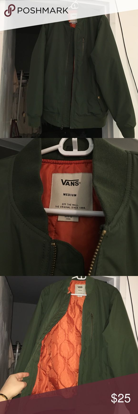 NWOT MEN's VANS olive green bomber jacket New without tags and never worn. Brand new from VANS. Olive green with orange interior. Vans Jackets & Coats Bomber & Varsity