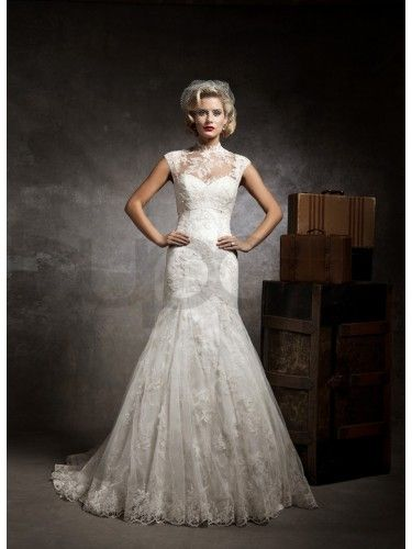 lace and tulle wedding dress mermaid vintage 1940's