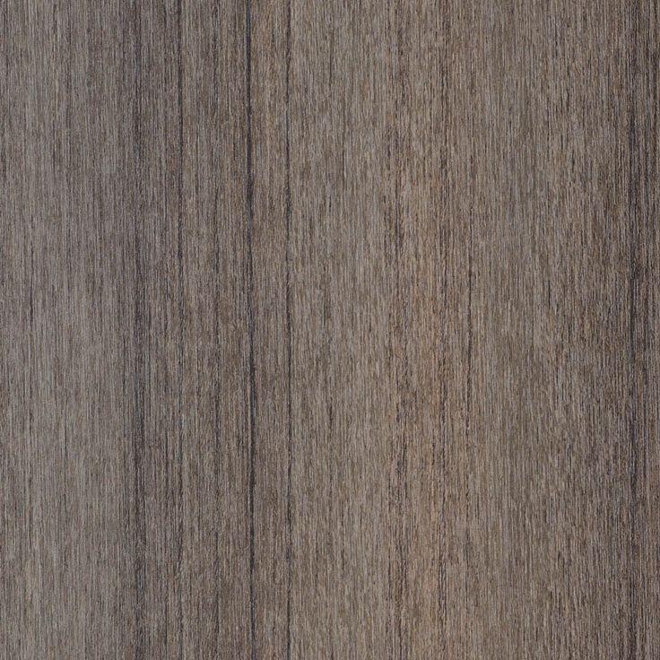A mid-dark grey-taupe teak timber pattern with distinct black random linear…