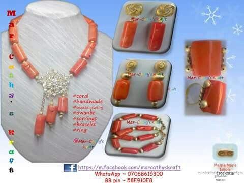 """#Do what you #like; Like what you do""  #i_like_what_i_do   #coral_bead #beaded_jewellery #fashion_statement #statement_jewellery  #beads #bea(ds)utiful #handmade #style #owanbe  #made_in_Naija #MarCathys_Kraft #Facebook #Exodus35:31-32 #Proverbs16v3 #Proverbs31:10-end"