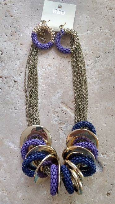 Boutique Style Boho Necklace with Purple & Navy Rings!