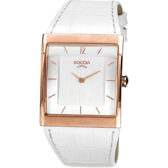 Boccia Ladies White Leather Rose Gold Titanium Watch - B3143-02 - RRP £110.00 - Online Price £85.00