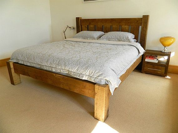 grand bed with lowend handmade from british reclaimed wood
