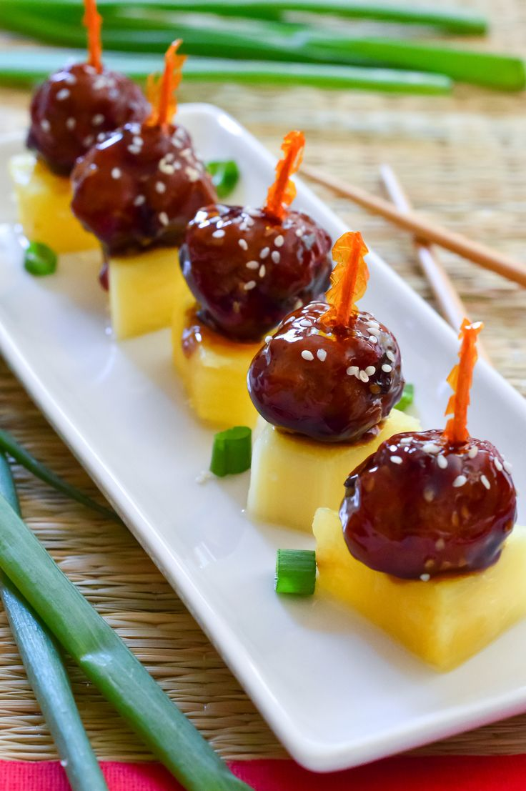 Teriyaki Meatballs. | Serve skewered with pineapple. It's like a Hawaiian party in your mouth!