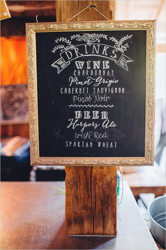 framed signage | bar sign ideas | chalkboard calligraphy | rustic wedding #weddingchicks