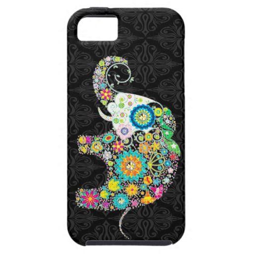 Colorful Retro Flower Elephant Design