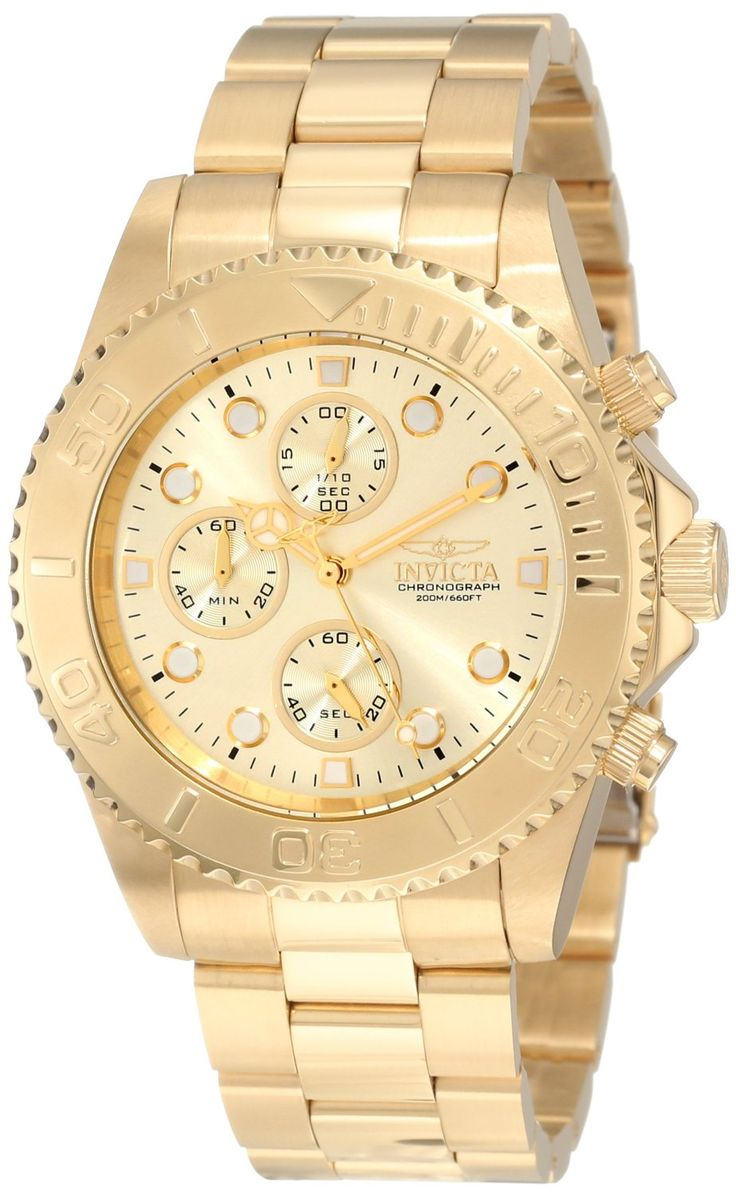 Gold watches : Invicta Men's 1774 Pro Diver Collection Chronograph Watch