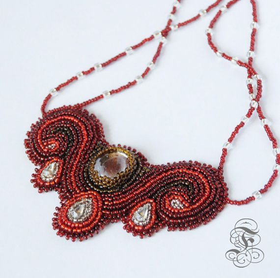 Bead embroidery Necklace Red Candelabra by Fantasmat