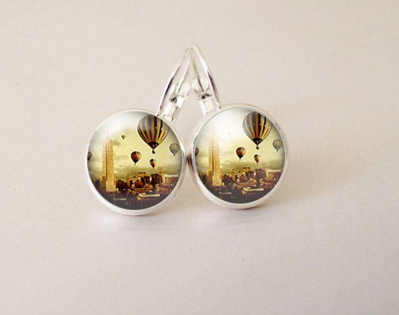 Balloon art  glass cab earrings GCB26 by ArtiFartiGifts on Etsy