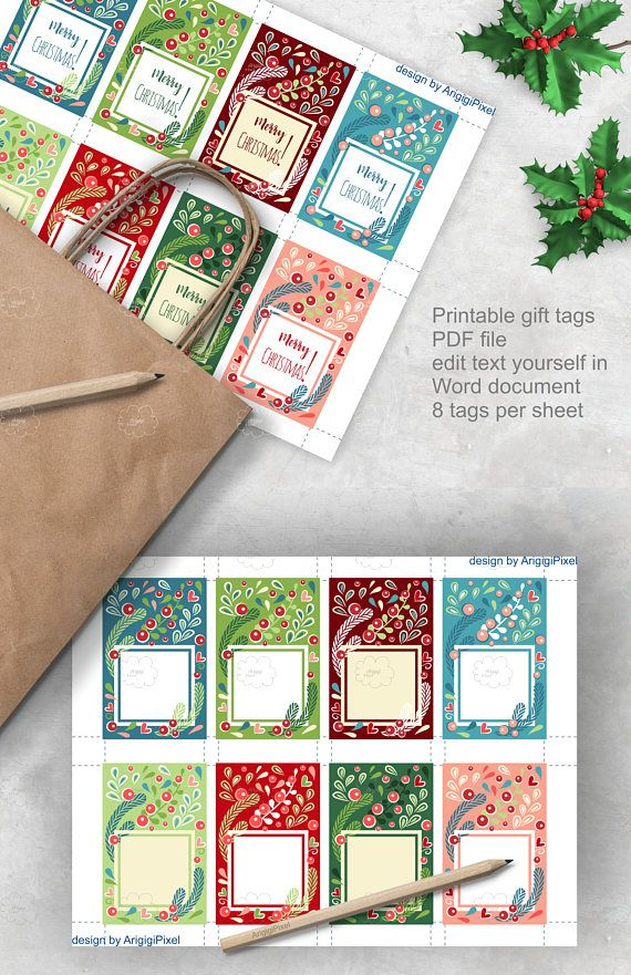 Set of floral #Christmas gift bag #tags in bright colors. They come in two versions: - with text  Merry Christmas  - and as blank tags.  You can easily customize text. These blank gift tags are great for Christmas and for any winter party. Use them for favor bags and for Christmas gift